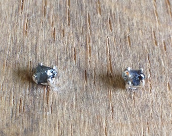UnEarthed sterling silver and rough sapphire stud earrings small