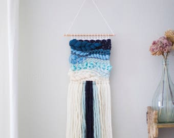 Blue Ombré wall hanging  \\ Weave \\ MTO \\ woven wall hanging \\ tapestry \\ handwoven wall art \\ blue nursery decor \\