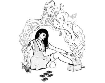 Modern Witch Print - Black & White Digital Illustration - Tarot Magic Smoke Stick - Goth Witchcraft Occult Wiccan Pagan Woman - Feminine Art