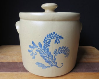 Excellent Hard to Find Large McCoy Bluefield Stoneware Canister Cookie Jar Crock with Lid is Marked #265 Great Find!