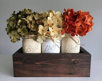 Mason Jar Centerpiece - Mason Jar Decor -Rustic Home Decor - Farmhouse Decor - Mason Jar