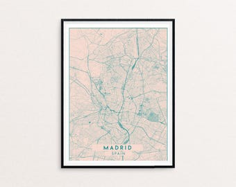 Madrid Blush Pink City Map Print, Clean Contemporary poster fit for Ikea frame 50x70cm, gift art him her, Anniversary personalized