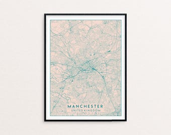Manchester Blush Pink City Map Print, Clean Contemporary poster fit for Ikea frame 50x70cm, gift art him her, Anniversary personalized