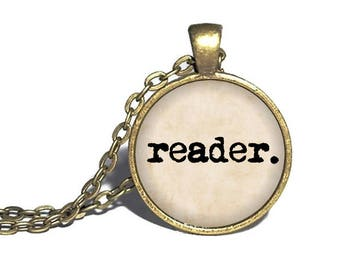 Reader Necklace, Book Lover, Book Necklace, Literature Ring, Reader Gift, Bookworm Present, Librarian Necklace, Reader Bracelet