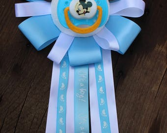 Mickey Mouse Baby Shower Corsage - Its A Boy - Baby Blue - Baby Shower Decor