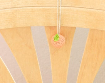 Orange crochet necklace chain pendant necklace, handmade gift