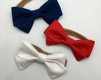 Mini Hand Tied Trio - Red, White, and Blue • 4th of July • Independence Day • American Flag