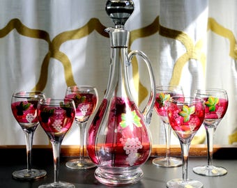 Stunning 7 PC Decanter Set – Hand Painted Leaves and Etched Grapes on Ruby Panels with Gold Trim