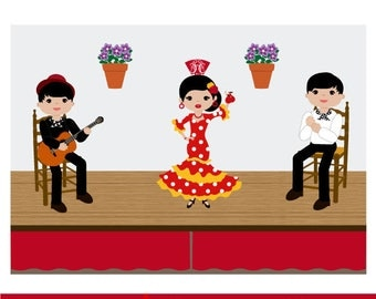 Tablao flamenco, flamenco dancers, flamenco guitarist, playing palmas, Clipart flamenco, flamenco vector