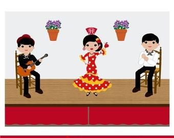 Tablao flamenco, flamenco dancers, flamenco guitarist, playing palmas, Clipart flamenco, flamenco vector
