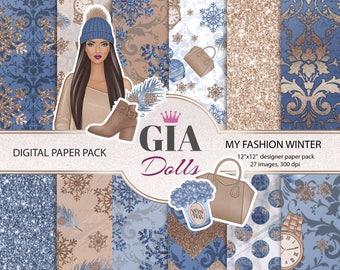 Winter digital paper pack, winter paper pack, winter girl paper pack,winter fashion digital paper pack,sweater paper,png
