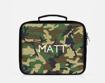 Camo Lunch Box, Camouflage Lunch Box, Personalized Lunch Box for Boys, Green Lunch Box, Custom Name Lunch Bag, Reusable Lunch Box