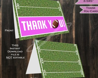 Thank You Card Football - Pink Baby Girl Thanks - Folded Card Blank Inside- Football theme decoration- Printable INSTANT DOWNLOAD 3.5x5in A1