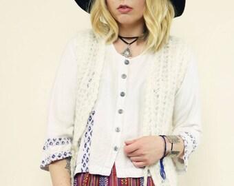 Vintage 70's Hand Knitted White Mohair Vest Waistcoat