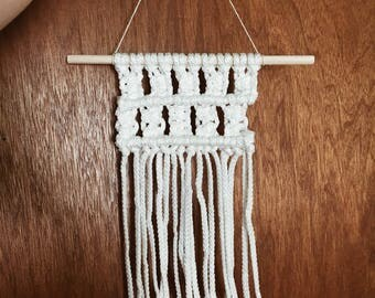 Handmade macrame wall tapestry made with vintage macrame cord
