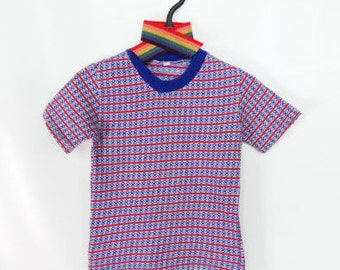 Girl Blouse 80s /Short sleeves /Baby Girls clothes / red and navy blouse / patterned / 3-4 years