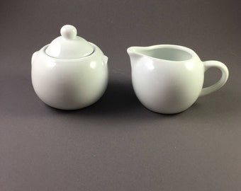 Clean and Simple sugar and creamer, ceramic white, holds 3/4 cup, made in the 1990's
