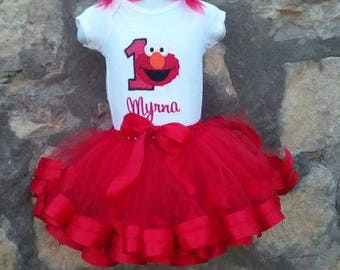 Personalized Birthday Embroidered Elmo Tutu and Shirt