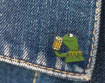 BUY 1, GET 1 Random Pin Free! Kermit None of My Business Meme Enamel Pin Kermit Drinking Beer Lapel Pin Kermit Pin Badge Meme Pin Funny Pin