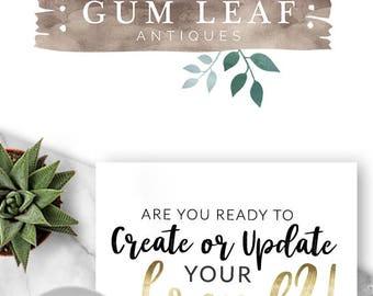 111 - Gum Leaf, LOGO Premade Logo Design, Branding, Blog Header, Blog Title, Business, Boutique, Custom, Gold, Watercolour,