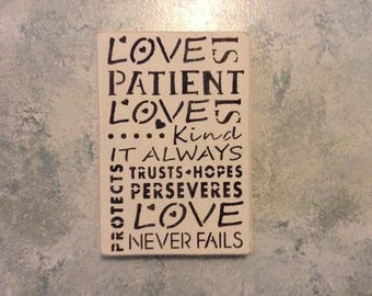 Love Is Patient, Love Is Kind Wood Sign Rustic Distressed Wall Decor