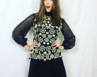Vintage 70s Beaded Black and White Sheer Long Sleeved Ruffled Mini Dress