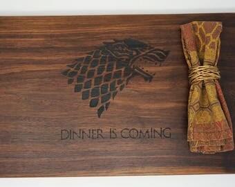 Engraved Game Of Throne Cutting Board Walnut Wood Butcher Block Custom Engraved Wedding Gift OOAK