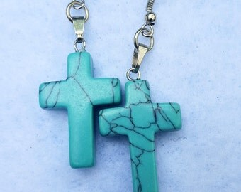 Blue Stone Cross Earrings