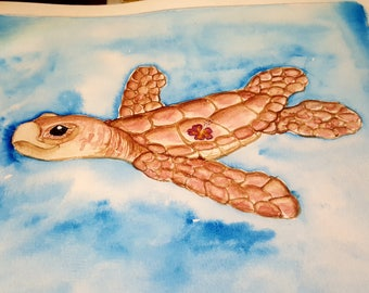Sea Turtle with Hibiscus print