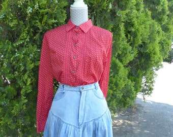Vintage clothing. 1970s Vintage Shirt. Flowers red blouse .  Print blouse.  Vintage outfits.