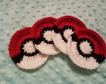 Pokeball Coasters Pokemon Coaster Set Crochet Pokeball Crochet Pokemon Crochet Coasters Free Shipping Nerdy Coaster Nerdy Gift Geeky Gift