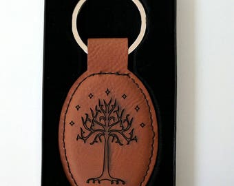 One Keyring to Rule Them All: Tree of Gondor laser engraved leatherette keychain
