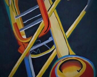 Trombone Acrylic Canvas