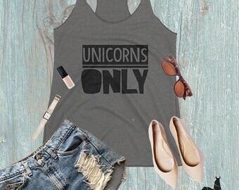 Unicorns Only Grey Women's Tank Top, Unicorn Lover Tank
