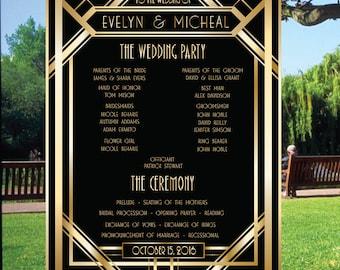 PRINTABLE Great Gatsby Wedding Program Sign Ceremony Poster Gold Art Deco, Modern Wedding Digital File, Fun Wedding Program, 14 - Gatsby