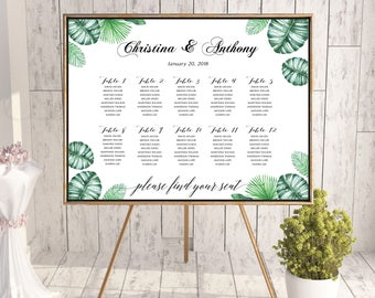 Tropical Wedding Seating Chart Template, Seating Chart Printable, Wedding Seating Plan, seating chart greenery, wedding seating chart, #131