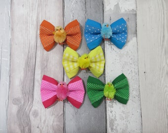 Bright Easter Chicks  Dog Double Bow Tie, Dog clothing, Doggy Bow Tie, Puppy Bow Tie, Detachable Bow Tie, Slip on bow tie