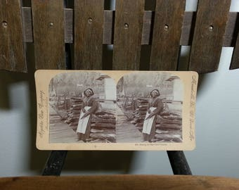 Antique Stereoview Stereograph Card Woman Posing With Umbrella Keystone View Company Black And White Double Photo Collectibles Stereoscopes