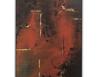 """Original art, wall art, abstract painting, abstract art, acrylic on canvas, red, black, gold, 40 x 50 cm 