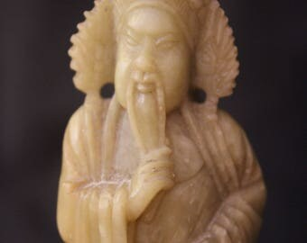 Antique Chinese Soapstone Carved Hero Figure Figurine