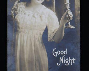 Victorian Good Night Risque Real Photo RPPC Postcard 1915 burlesque