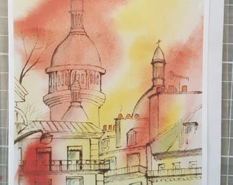 Greetings card from an original watercolour pen and wash