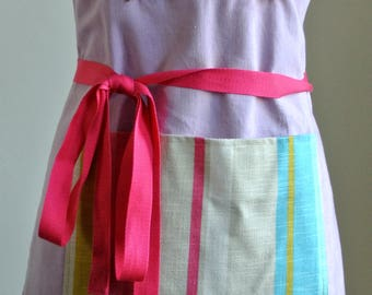 Handmade Lilac and Pink Cotton Apron