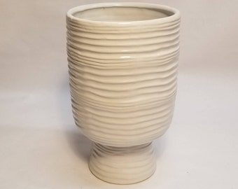 White Pottery Wavy Lines Pedestal Chalice Vase, Midcentury Modern Eames Era