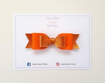 Orange Bow Headband or Clip | Orange Metallic Leather & Wool Felt | Baby Headband, Baby Bow, Girls Clip, Leather Bows