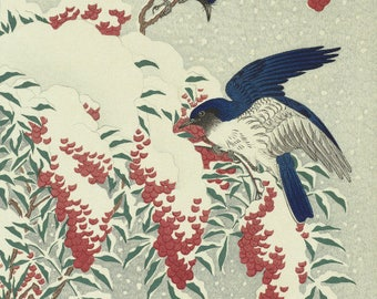 "Japanese Art Print ""Bush and Fly Catchers in Snow"" by Ohara Koson, woodblock print reproduction, fine art, asian art, cultural art, winter"