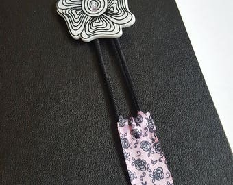 Black and White Flower with Rose Book Band / Planner Band