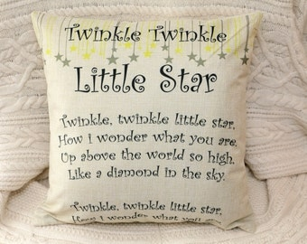 Twickle Twickle little star - Nursery rhyme inspired pillow baby room children poem cushion cover 45 by 45 cm home gift