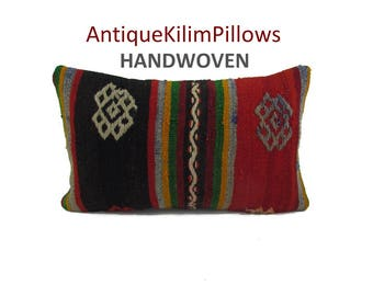 kilim pillow decorative pillow 12x20 lumbar pillow kilim pillow cover pillow case bohemian home decor kelim rug pillowcase pillows 001317