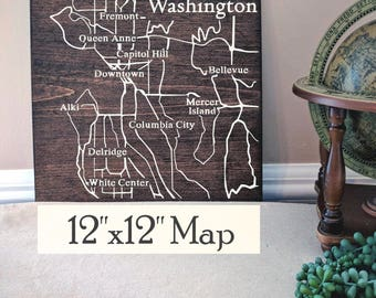 Seattle City Map, Large Wooden Map, Seattle Map, Seattle Map Wood, Wooden Street Map, Custom Painted Map, House Address Map by Novel Maps